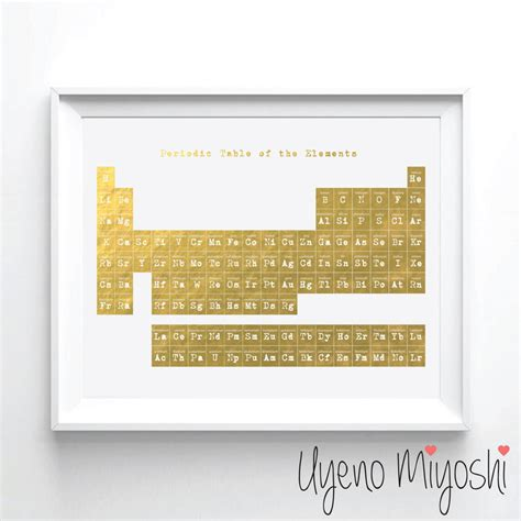 Periodic Table Gold by Periodic Table I Gold Foil Print Gold Print Custom Print In