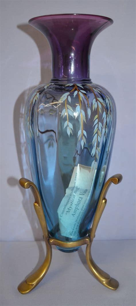 Glass Bird Vase Fenton Glass Bird Amphora Vase In Frame Blue To Violet With