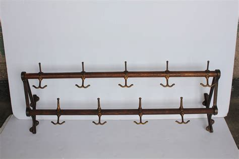 Wall Coat Rack by Antique Oak And Brass Wall Coat Rack At 1stdibs