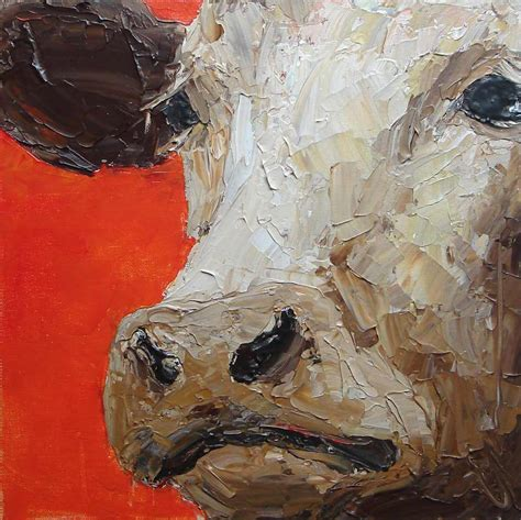 acrylic painting with knife cow painting original acrylic painting palette knife farm