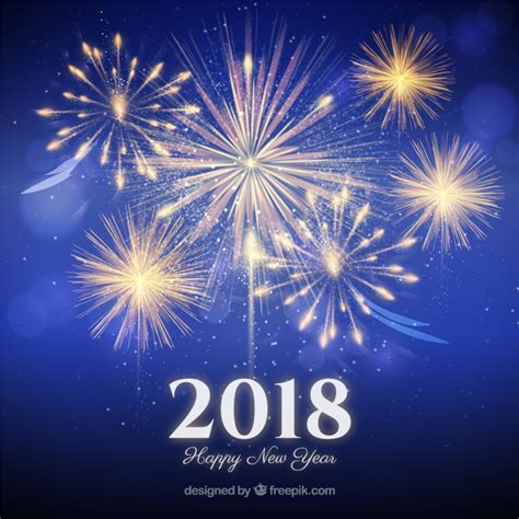 fireworks new year background 2018 vector free download
