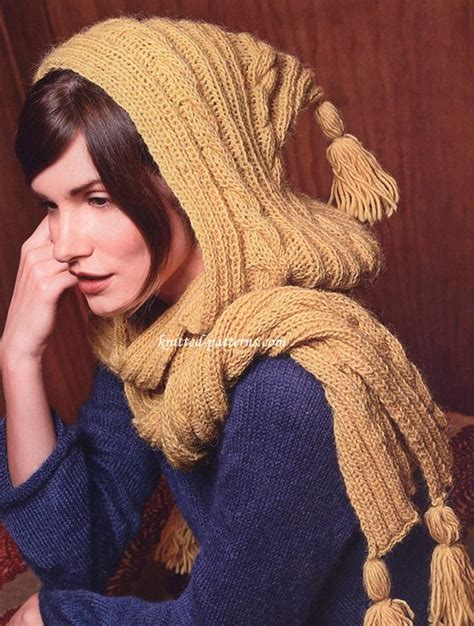 knitted hooded scarf pattern all the best ideas