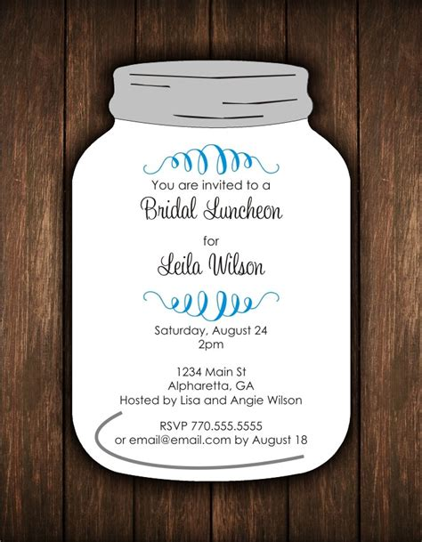 Mason Jar Die Cut Invitation Bridal Shower Or Any Occasion Personalized Party Invites Jar Invitation Template