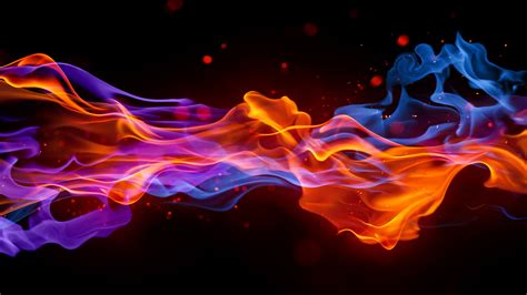 color flames 3d cg digital flames colors bright rainbow