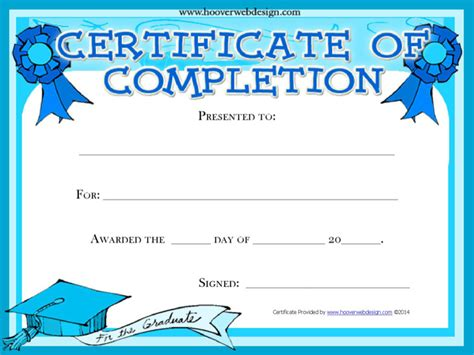 completion certificate template download free premium