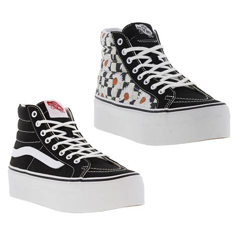Vans Sk8 Best Seller vans sk8 hi platform womens platform hi top trainers black white size uk 3 8 ebay
