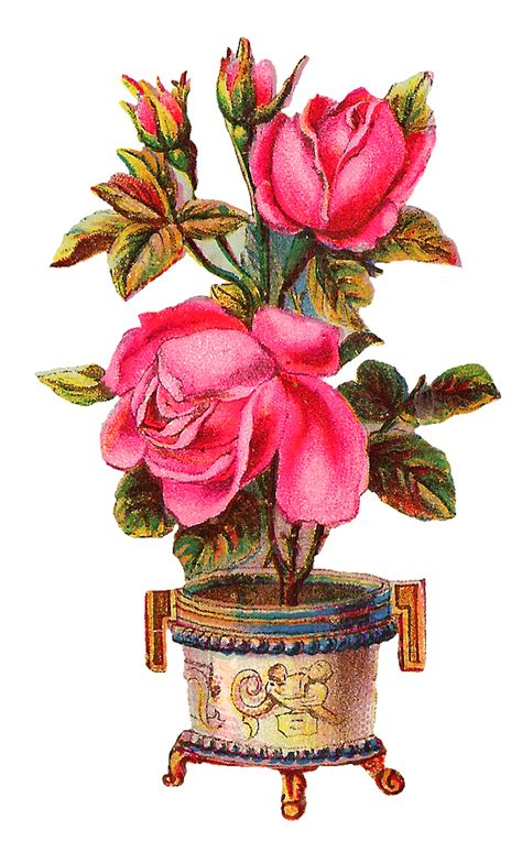 Flower Vase Png by Antique Images Digital Scrapbooking Pink Clip
