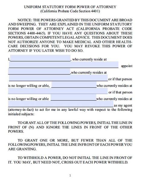 free printable durable power of attorney template free california power of attorney forms and templates