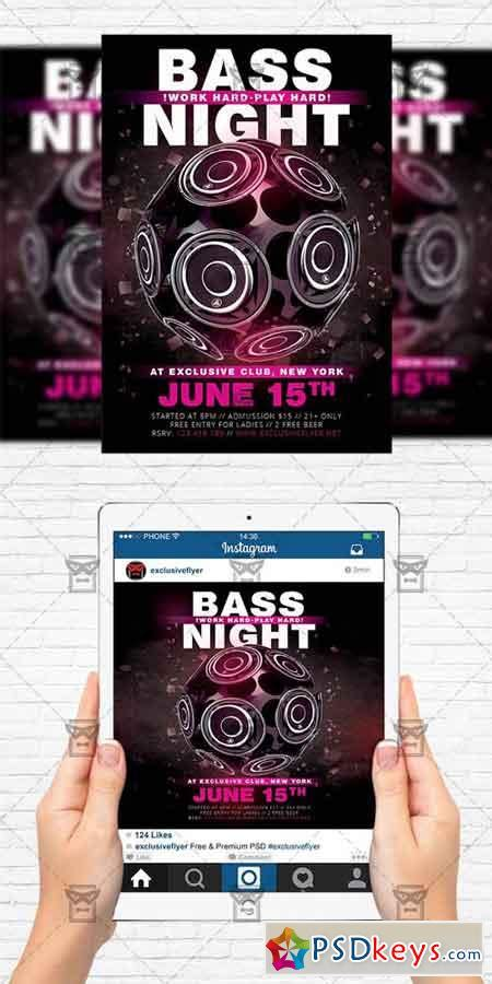 Bass Night Flyer Template Instagram Size Flyer 187 Free Download Photoshop Vector Stock Image Instagram Flyer Template