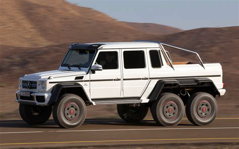 mercedes 6 wheel pickup mercedes benz g63 amg 6x6 white view on road 2 219877