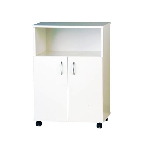 Shelving For Kitchen Cabinets Bedford 610mm White 2 Door Microwave Trolley Bunnings