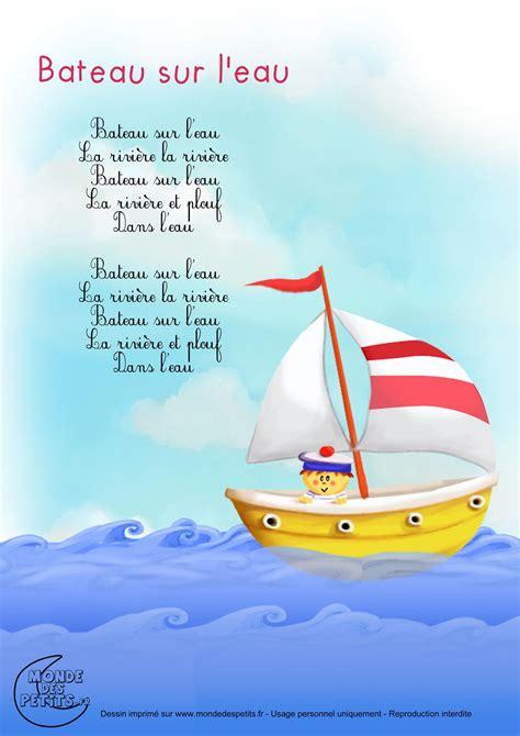 dessin d un bateau sur l eau paroles bateau sur l eau comptines enfants pinterest