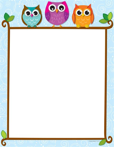 border paper template 7 best images of owls printable borders and frames free