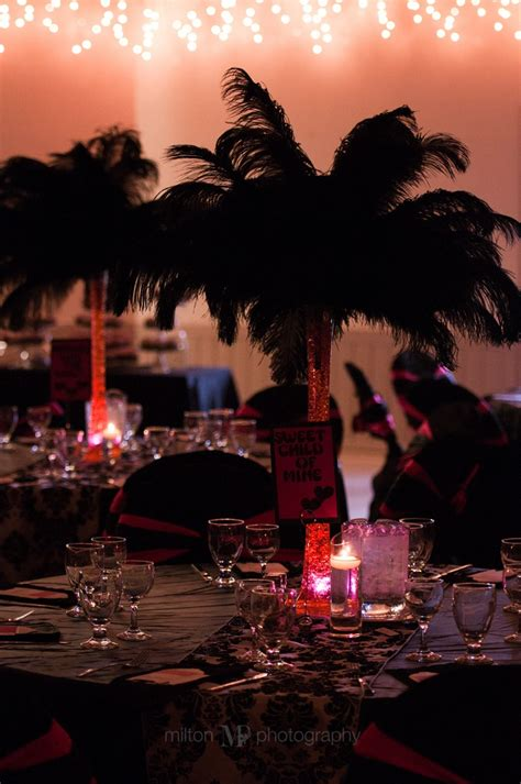 wedding decor pink and black feather centerpieces jamie