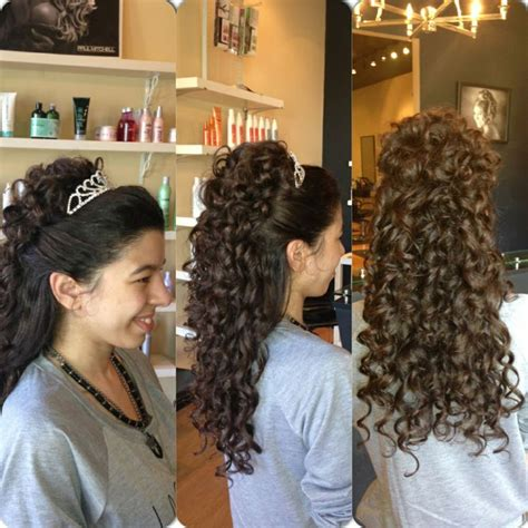 quinceanera hairstyles with curls and tiara prom updo half up half curly with a tiara by carrie