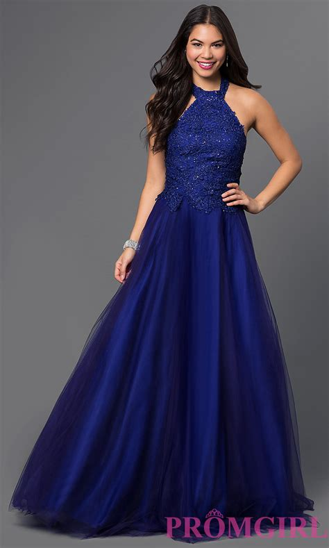 To Gown halter prom dress with lace brocade promgirl