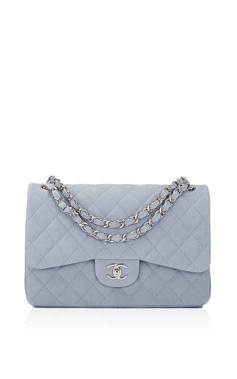 J Flap Bag With Chain Blue avenue couture chanel pastel blue iridescent