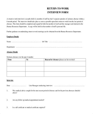return to work form template 30 images of sle return to work template infovia net