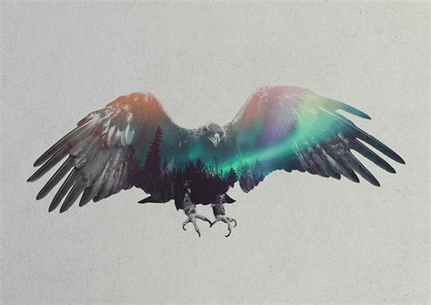 double exposure portraits of animals in the aurora