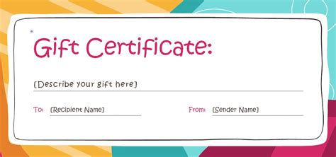 personal gift card template printable gift certificates templates free