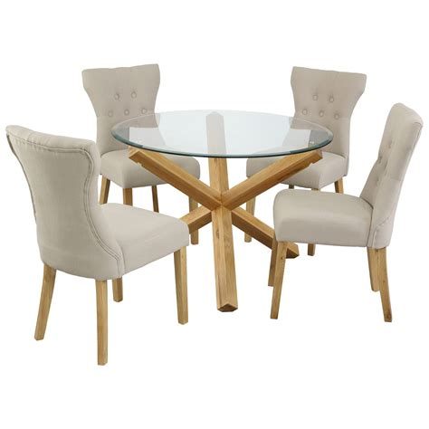 oak glass dining table and chair set with 4 fabric