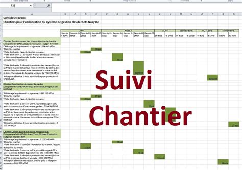 exemple planning suivi de chantier gratuit