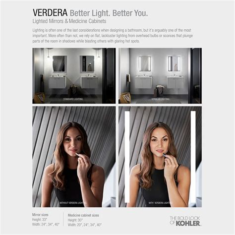 kohler lighted medicine cabinet kohler verdera 34 in x 30 in recessed or surface mount