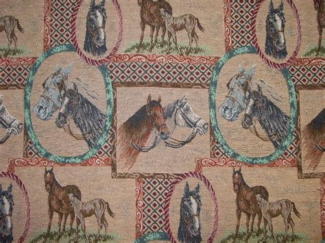 Equestrian Upholstery Fabric Horse Equestrian Tapestry Fabric Rare Oop Textile High