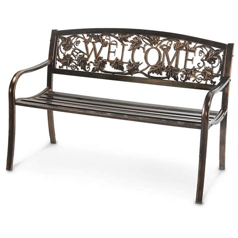 welcome bench welcome outdoor bench 235937 patio furniture at