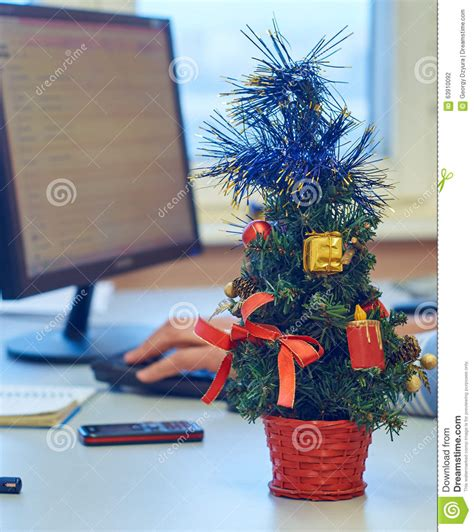 office desk christmas tree new year office decoration stock photo image of workplace