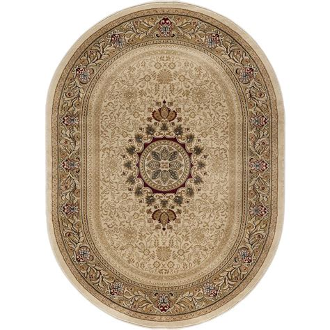 7 x 9 oval area rugs tayse rugs sensation ivory 6 ft 7 in x 9 ft 6 in traditional oval area rug 4672 ivory 7x10