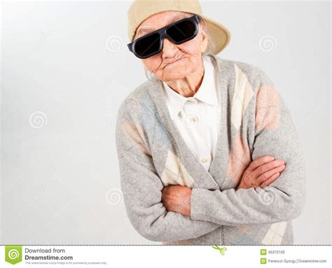 cool stock cool grandma stands for her right stock photo image