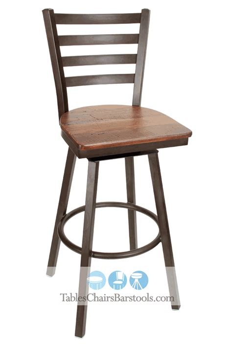 Wooden Bar Stools With Backs That Swivel | gladiator rustic brown powder coat ladder back swivel bar