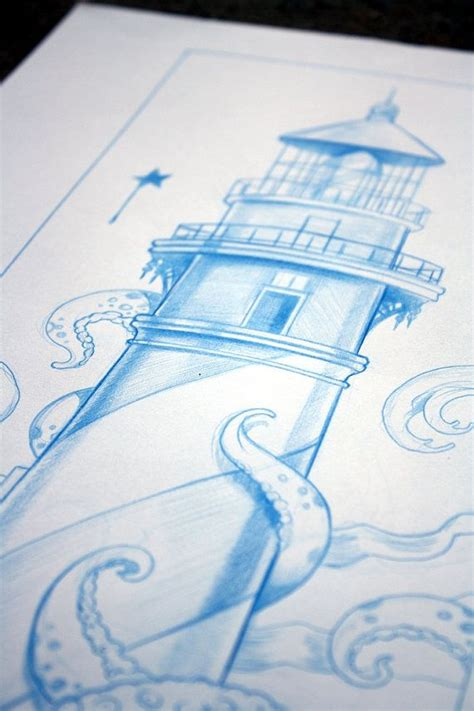 tangled attraction original blue lighthouse drawing by