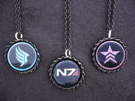 mass effect n7 paragon renegade necklaces by monostache on