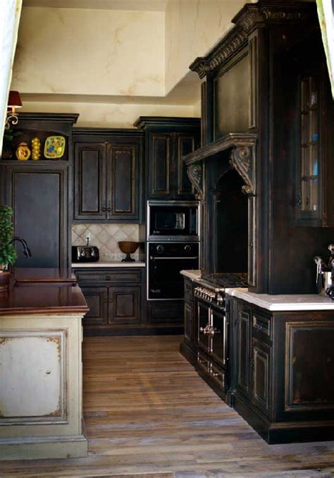 Black Distressed Kitchen Cabinets Trend