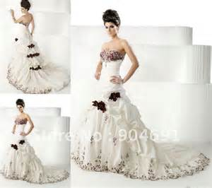 Sweetheart bridal dress white ivory taffeta red burgundy embroidery