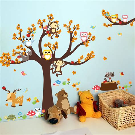 jungle forest tree ᗔ animal animal owl monkey deer wall stickers baby nursery