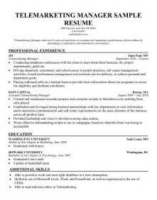 Sample Resume Objectives For Telemarketer by Resume For Human Services