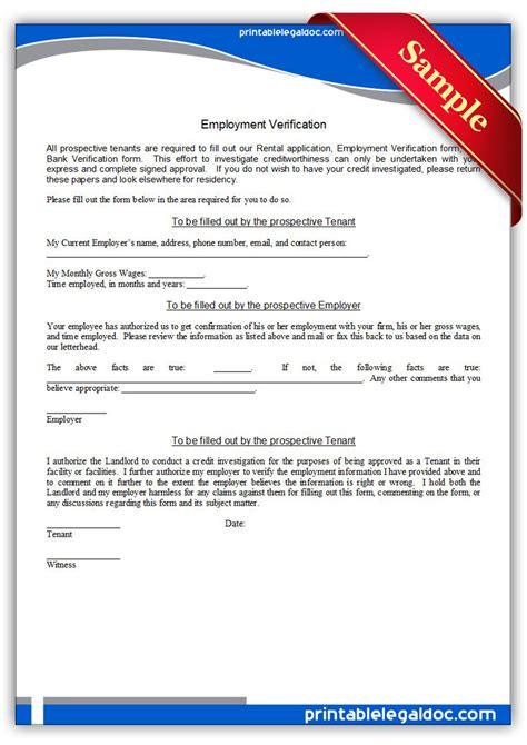 free printable employment verification form generic