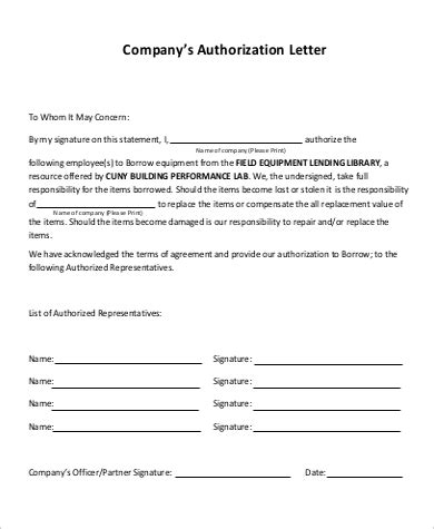 Authorization Letter Sample For Company sample company authorization letter