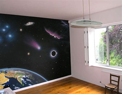 space themed wall murals realistic space mural space themed nursery