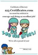 Bravery Certificate Template by Free Printable Bravery Certificates