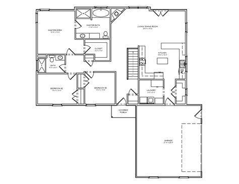 One Level House Plans by Midwest Ranch House Plan Single Level House Plan The