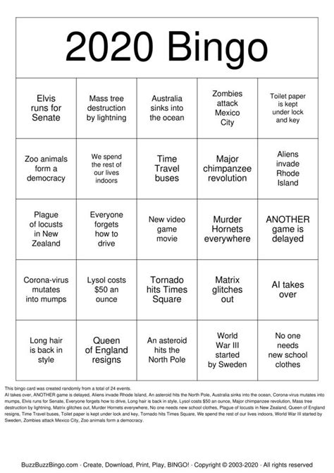 2020 Bingo Bingo Cards to Download, Print and Customize!