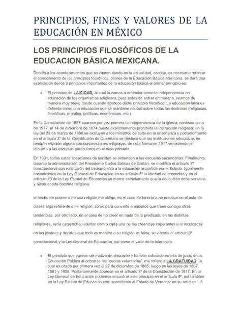 cules son los nuevos valores de las asignaciones los principios filos 211 ficos de la educacion b 193 sica mexicana