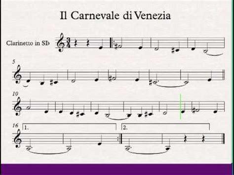 il clarinetto testo il carnevale di venezia clarinetto