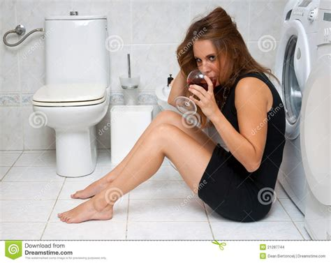women in bathroom drunk woman in her bathroom stock images image 21287744