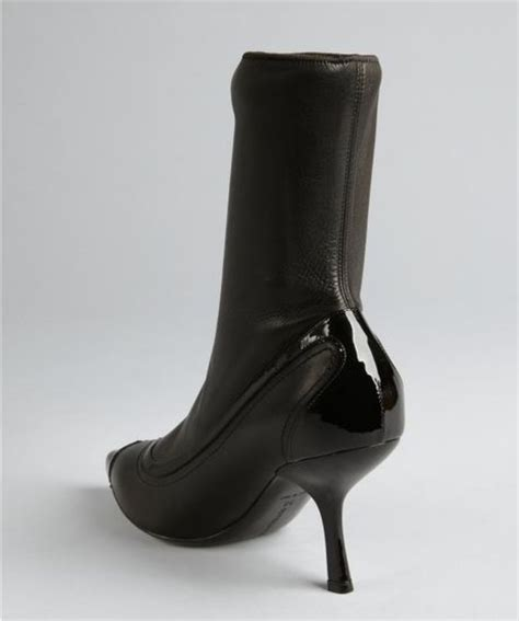 bottega veneta black leather kitten heel stretch shaft