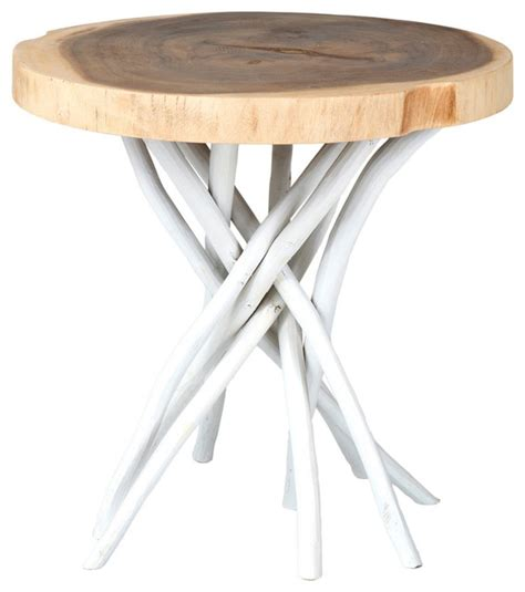 round white accent table east at main s joeslin white teakwood round accent table